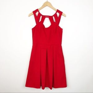 Betsey Johnson Red Party Dress Cut Out Neckline